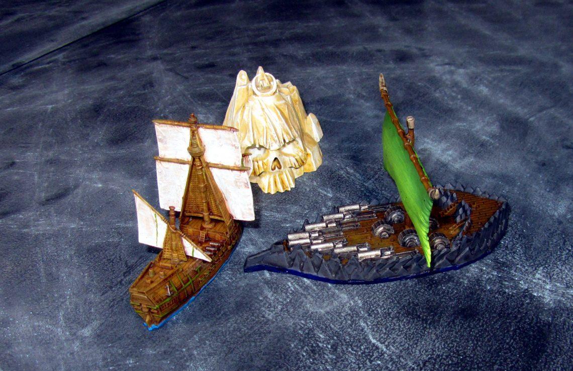 Orc ship rams a human ship.